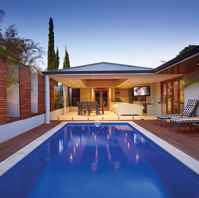 The Caprice 8m x 3m fibreglass swimming pool